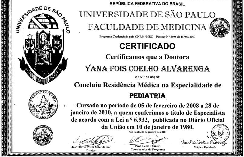 certificado yana
